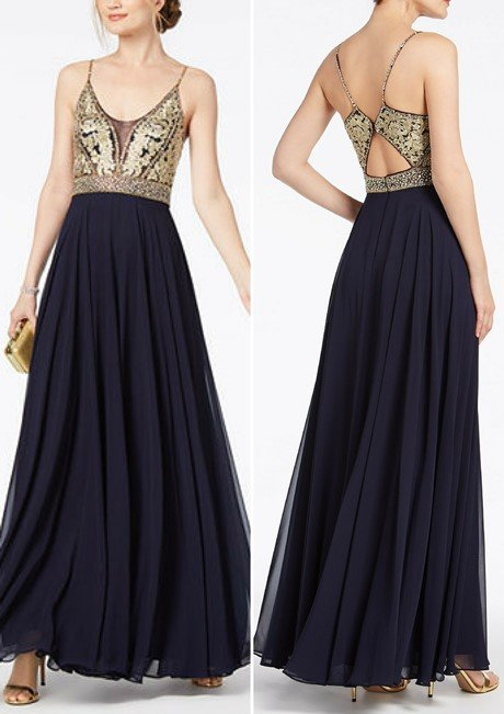 XSCAPE Embellished Embroidered Chiffon Gown