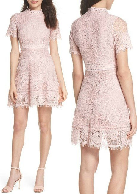 BB DAKOTA Lace Fit & Flare Dress