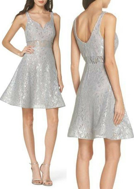 SEQUIN HEARTS Illusion Waist Lace Fit & Flare Dress