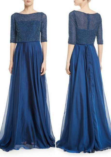La Femme 3_4 Sleeves Beaded Chiffon Pleated Evening Gown