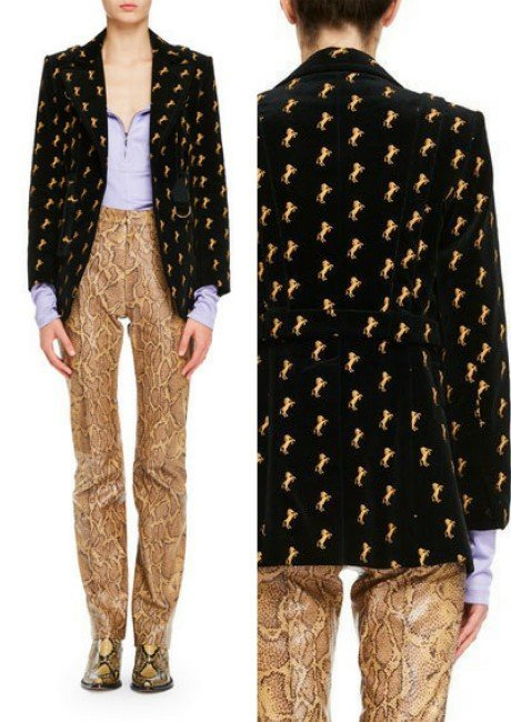 New Womens Fashion Horse Embroidered Belted Velvet Blazer Suit Straight Trousers