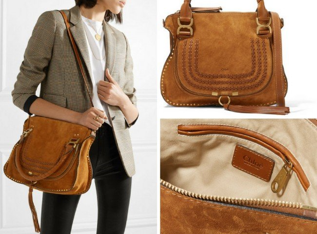 CHLOÉ The Marcie medium whipstitched suede tote