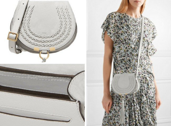 CHLOÉ Marcie mini whipstitched suede and textured-leather shoulder bag