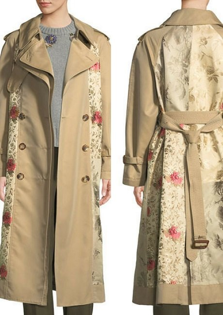 Alexander McQueenDouble-Breasted Brocade Patched Long Trench Coat