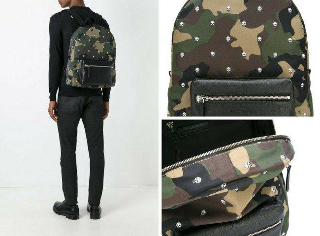 ALEXANDER MCQUEEN skull and camouflage backpack