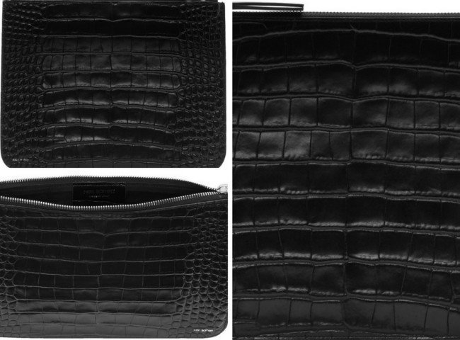 Neil Barrett Black Alligator Embossed Pouch