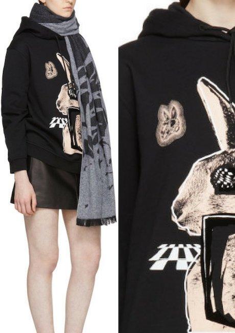McQ Alexander McQueen Black & Pink Glitch Bunny Classic Hoodie