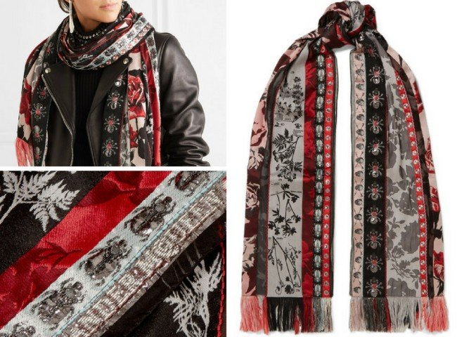 ALEXANDER MCQUEEN Fringed organza and jacquard scarf
