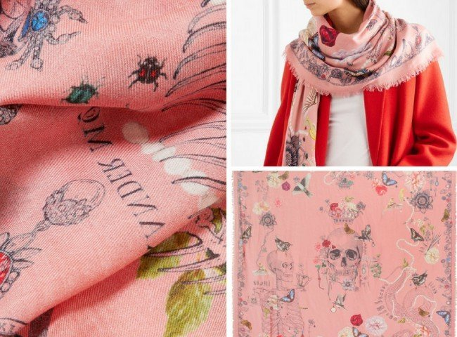 ALEXANDER MCQUEEN Frayed printed modal and wool-blend scarf