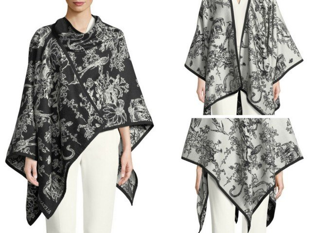 Alexander McQueen Birds Sketch Reversible Wool Cape