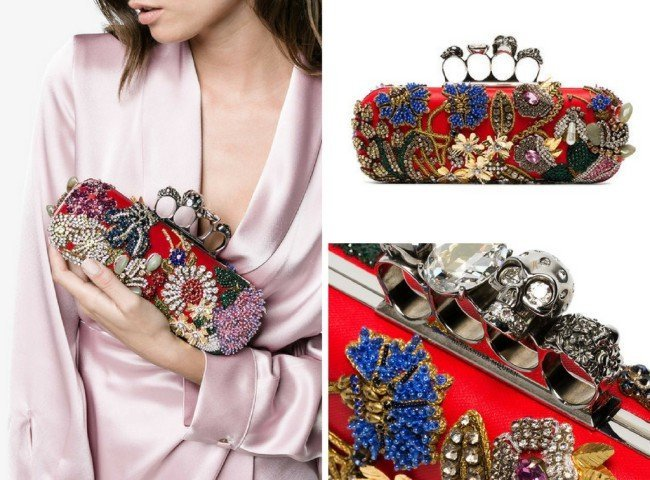 ALEXANDER MCQUEEN Crystal Embroidered Knuckle Duster Clutch Bag