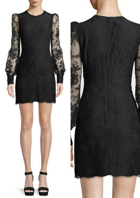 Alexander McQueen Long-Sleeve Fitted Sarabande Lace Cocktail Dress