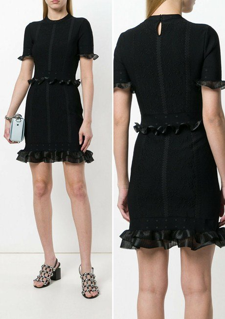 Alexander McQueen Jacquard Knitted Mini Dress with Zigzag Ribbon Detail