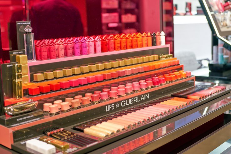 Guerlain cosmetics on display at a second flagship store of Rinascente in Rome, Italy.