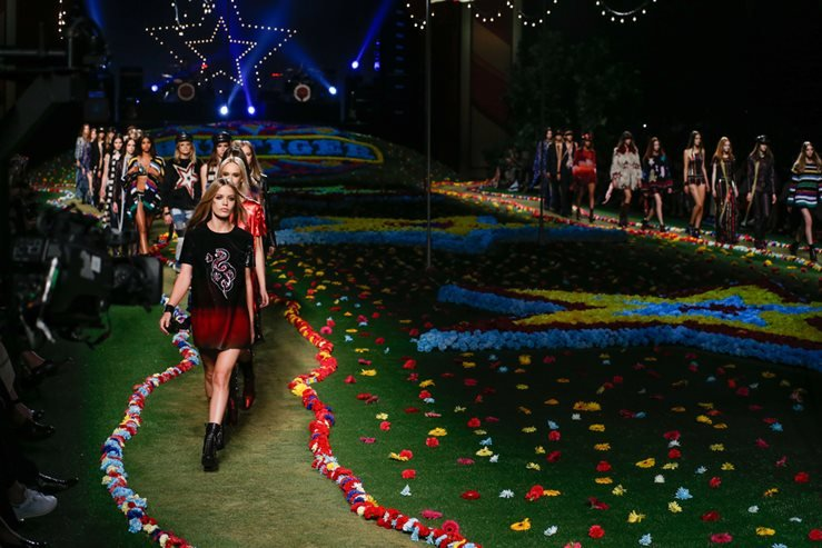 Models walk the runway at Tommy Hilfiger Women's fashion show during Mercedes-Benz Fashion Week