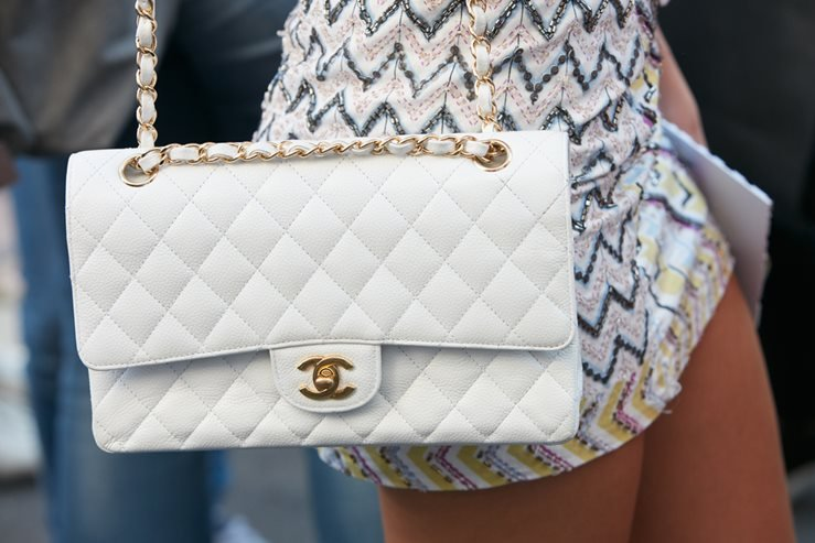 Chanel bag before Salvatore Ferragamo fashion show in 2016. Milan, Italy.