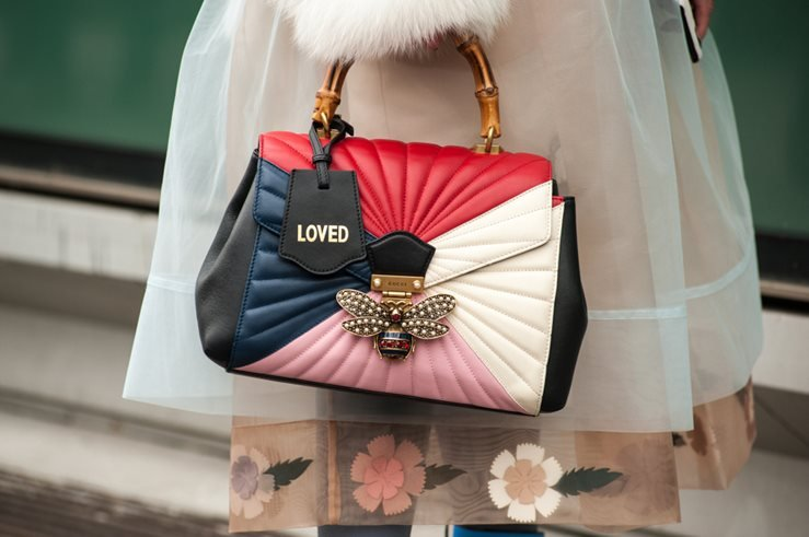 GUCCI bag spotted outside Armani fashion show in 2018. Milan, Italy.