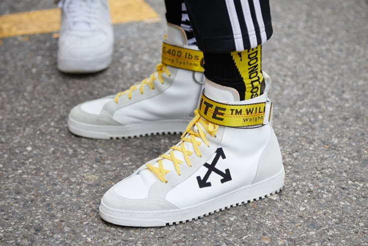 Men's Off White Sneakers Spotted during Milan Fashion in 2018.