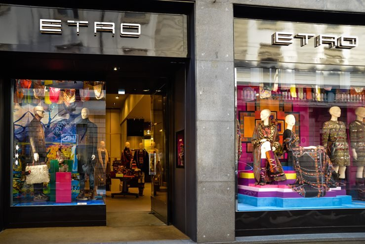 Etro Fashion Boutique in Milan, Italy.