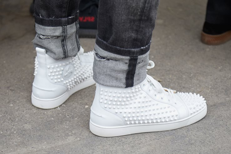Christian Louboutin white sneakers shoes with studs