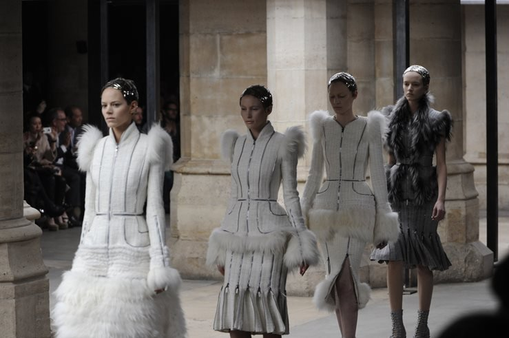 Models walk runway during the Alexander McQueen Ready to Wear Autumn-Winter Show in 2012.