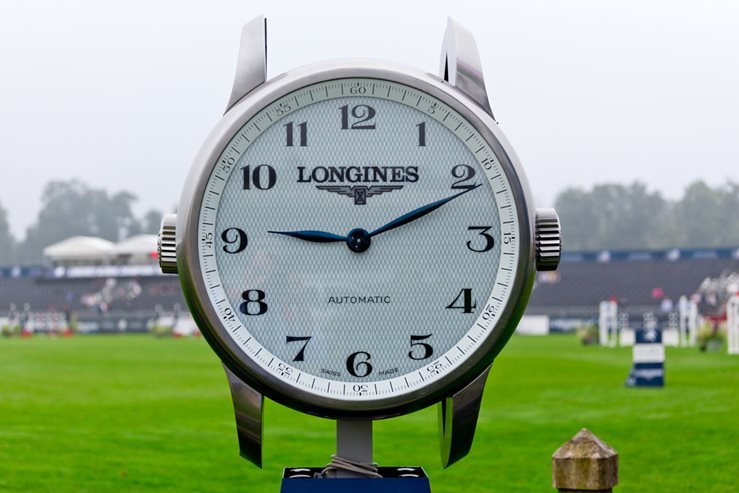 A giant Longines watch located in the Longines Global Champions Tour in Chantilly, France.