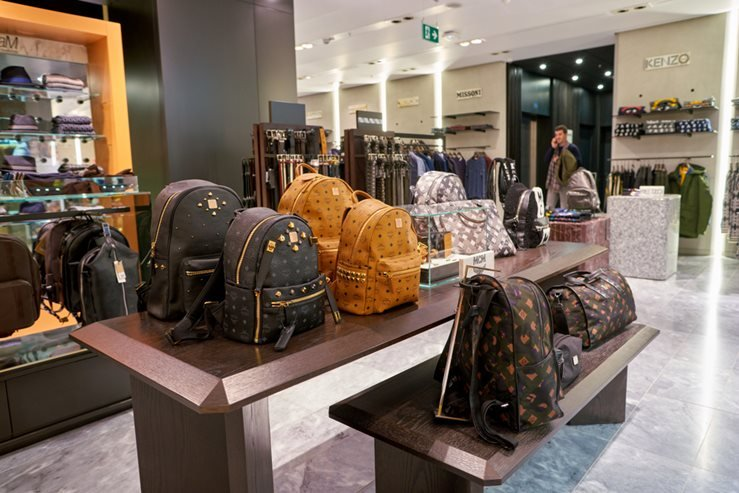 MCM backpacks and bags on display at a second flagship store of Rinascente in Rome, Italy.
