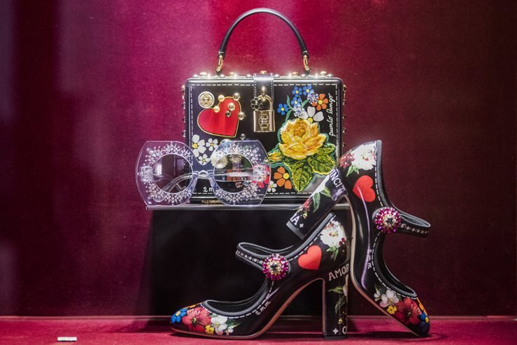 Dolce and Gabbana Shoes and Bag during SS2018 Fashion Week