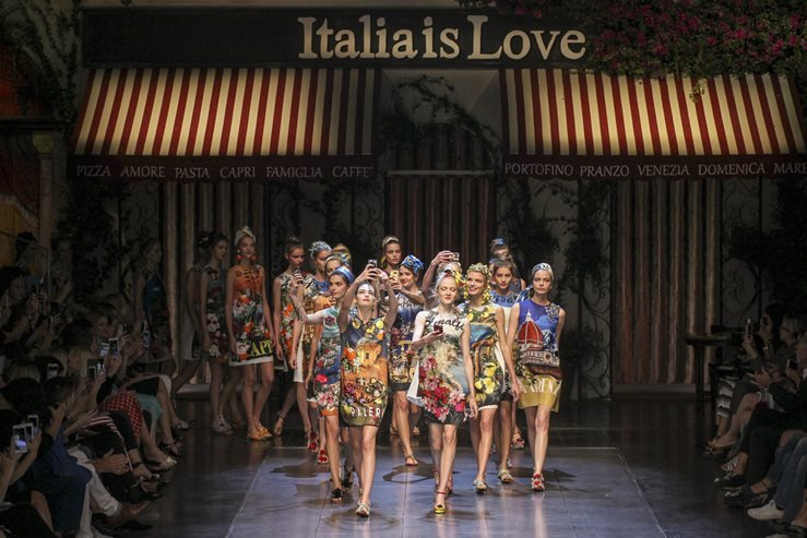 Models walk the runway during the Dolce and Gabbana show as a part of Milan Fashion Week