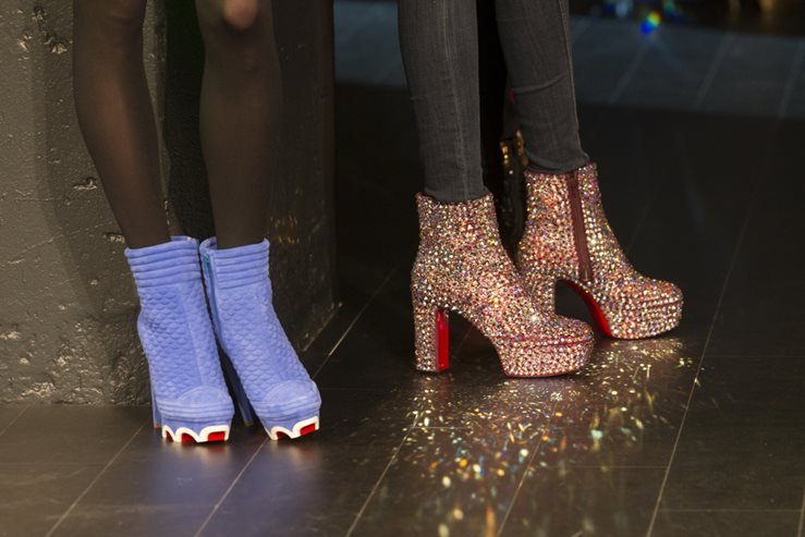 Models wear shoes by Christian Louboutin on runway for The Blonds show by David & Phillipe Blonds