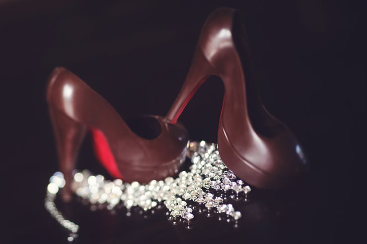 Christian louboutin chocolate shoes with diamond necklace