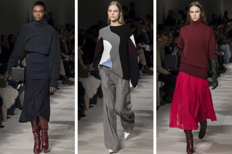 Naki Depass, Kirin Dejonckheere and Lex Herl walk the runway at the Victoria Beckham Fall Winter 2017 fashion show.