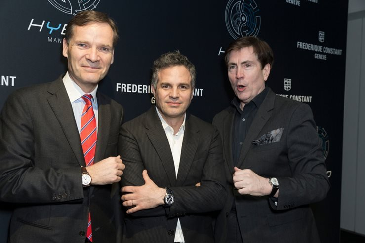 Bill McCuddy, Peter Stas, Mark Ruffalo attend Swiss Watch Brand Frederique Constant launches 3.0 Watch Generation Carpenters Gallery