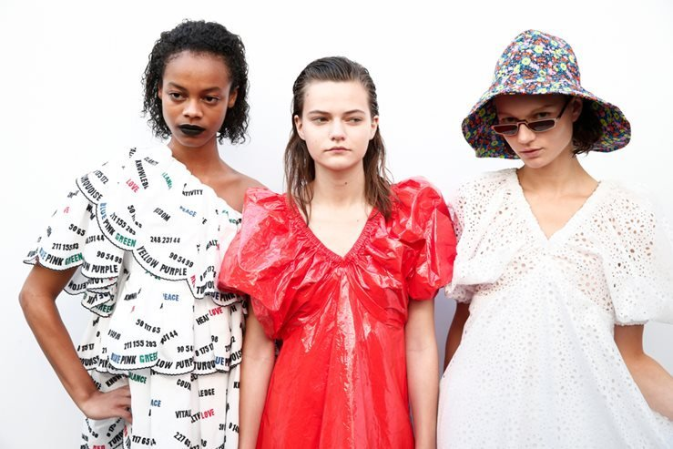 Models are seen backstage ahead of the MSGM show during Milan Fashion Week Spring