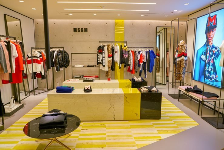 MSGM clothes on display at Rinascente in Milan, Italy.