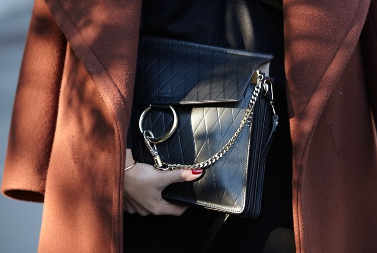 Black Chloe bag spotted before Chloe show, Paris Fashion Week.