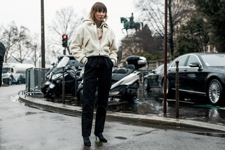 Anya Ziourova before BALMAIN show at Paris Fashion Week