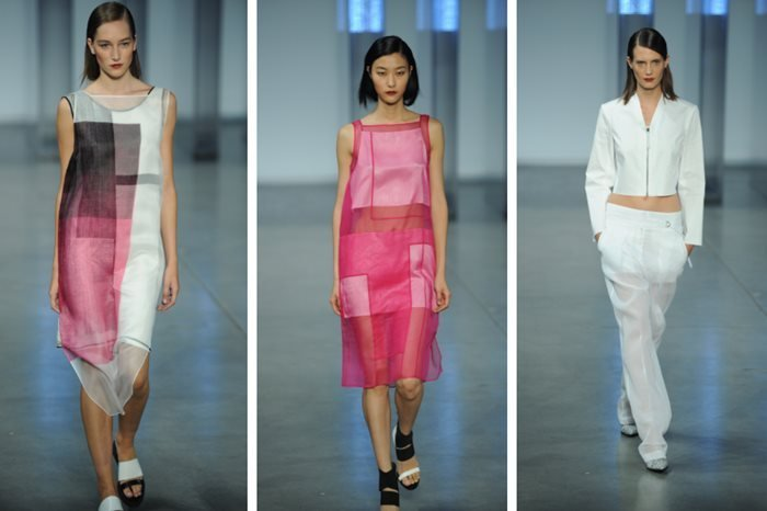 Models walk the runway at the Helmut Lang Spring 2014 fashion show