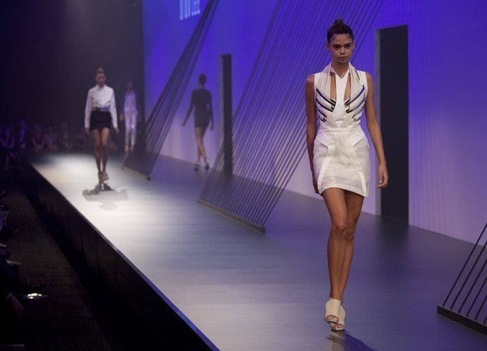 A model representing Dion Lee in the 2010 L'Oreal Melbourne Fashion Festival at Central Pier