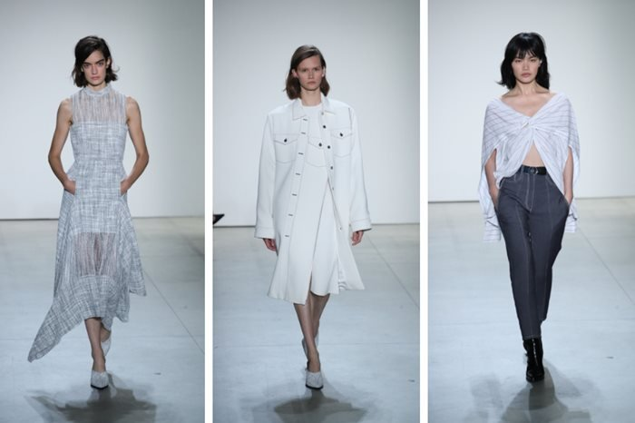 Models walk the runway at the Dion Lee fashion show during New York Fashion Week.