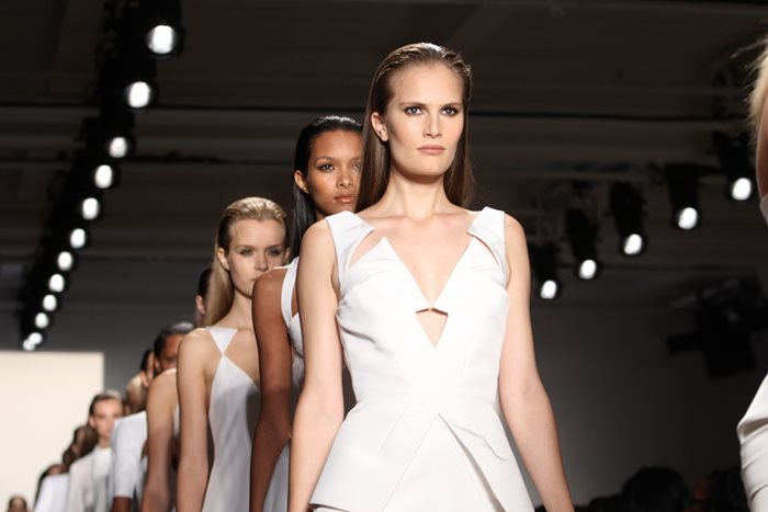 Models walk the runway at the Cushnie Et Ochs SS 2012 Collection.