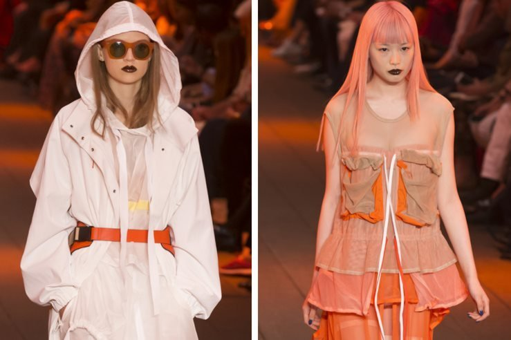 Adrienne Juliger and Fernanda Hin Lin Ly walks the runway at the DKNY Spring Summer 2017 fashion show