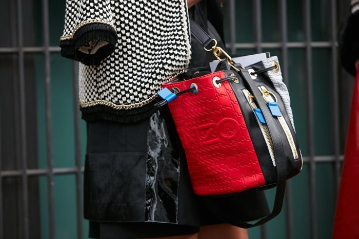 Kenzo Red Black and White Shoulder Bag spotted before Emporio Armani fashion show.