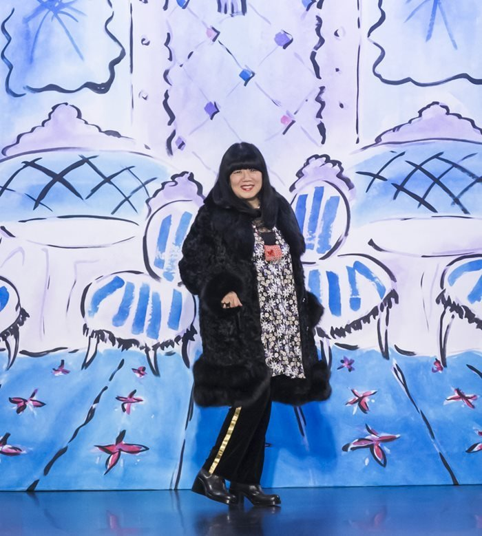 Anna Sui walks the runway at the Anna Sui Fall Winter 2017