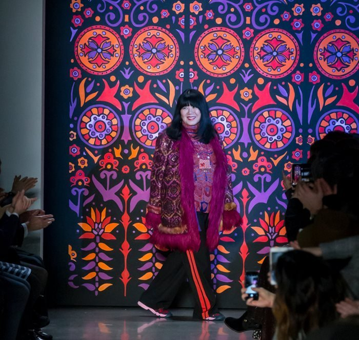 Designer Anna Sui walks the runway at the Anna Sui Fall Winter 2018 fashion show during New York Fashion Week in February 2018.
