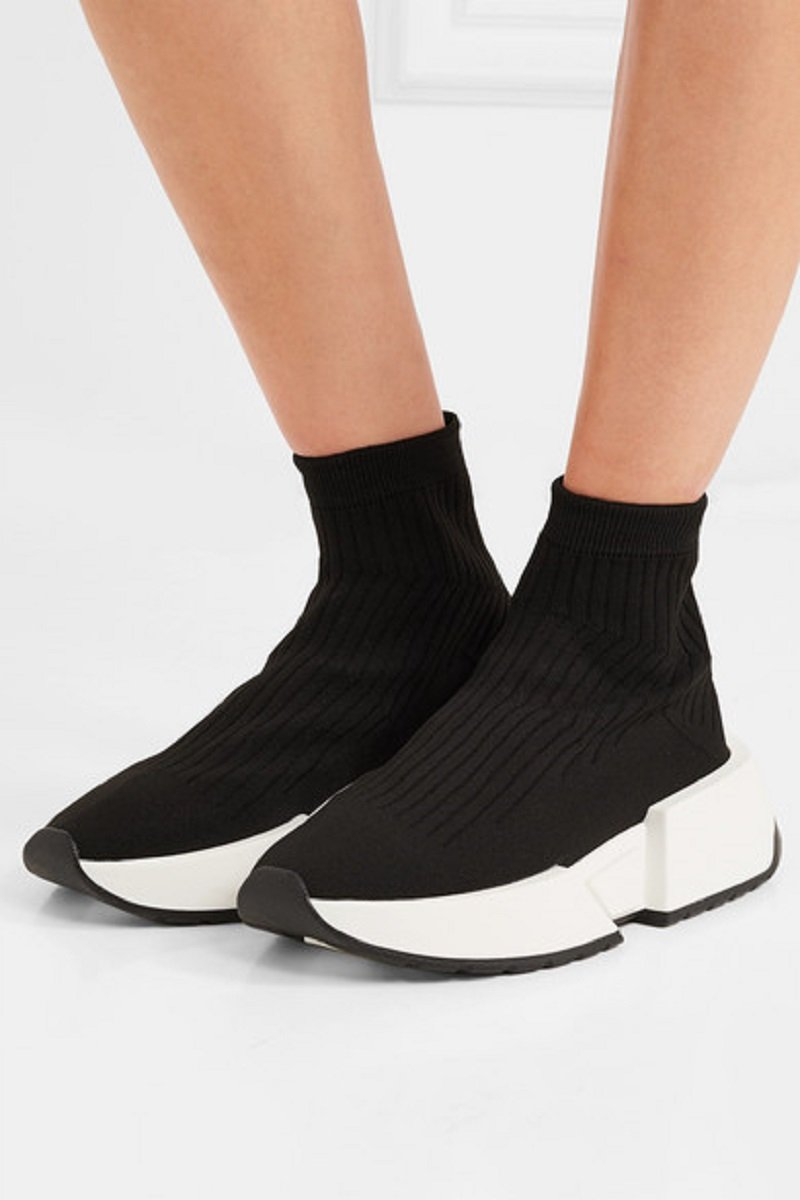 MM6 Maison Margiela Thick-Sole Rib-Knit Sneakers1