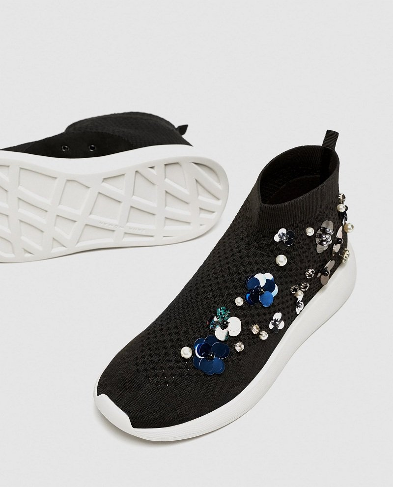 Zara Floral High Top Sneakers Review 3