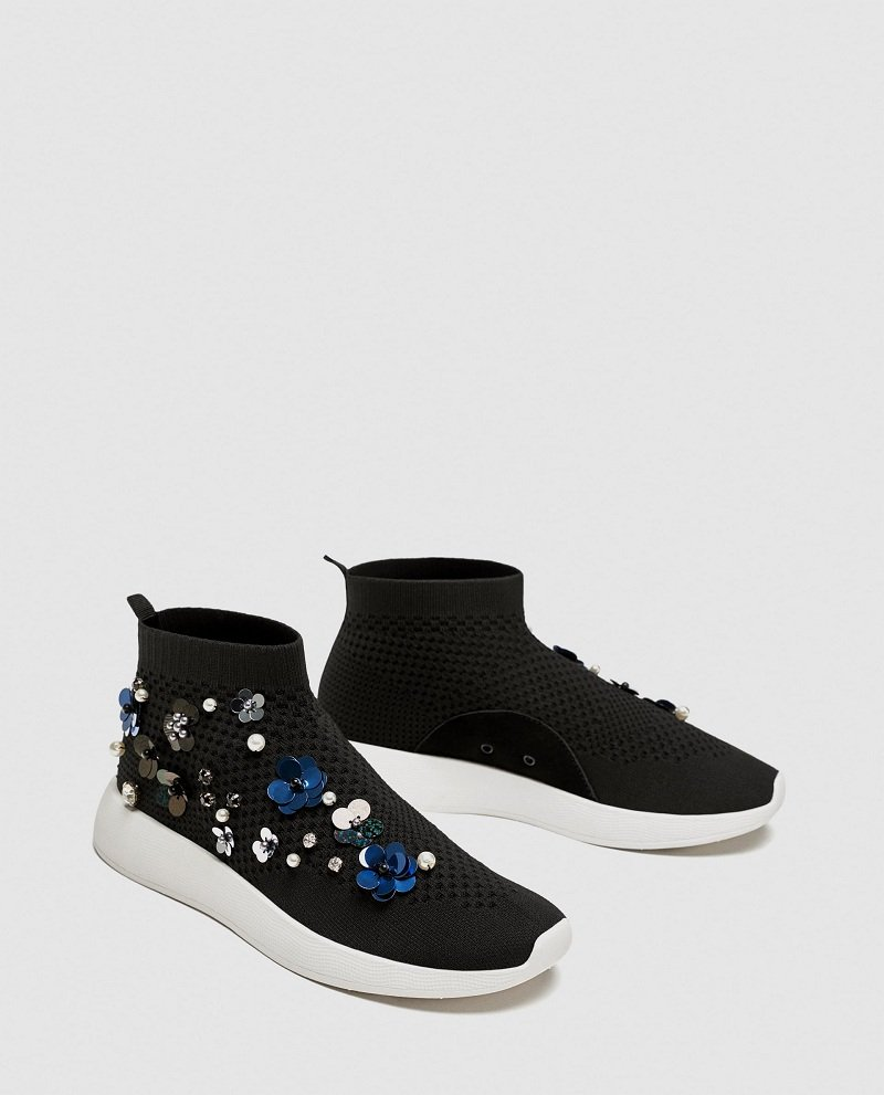 Zara Floral High Top Sneakers Review 5