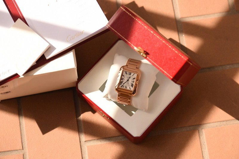 Cartier 18k Rose Gold & Diamond Tank Anglaise Extra-Large Model Watch Review 2