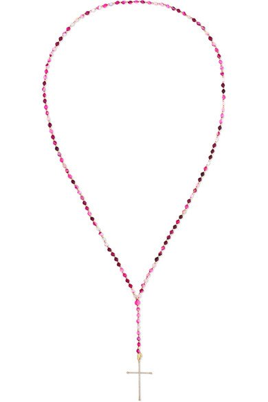 18-karat gold, diamond and agate necklace